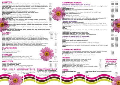 Carte menu restaurant intérieur - A3 1 pli 350 g