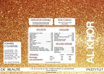 Plaquette prestations et tarifs institut de beauté - Intérieur - Pliage fenêtre - Papier 350 g brillant