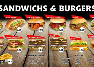 Panneaux lumineux pour menu restaurant
